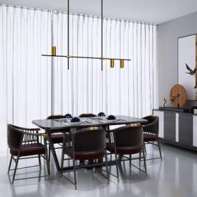 新中式餐桌椅組合3D模型【ID:848209855】