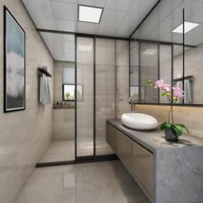 新中式卫生间3D模型【ID:532982541】