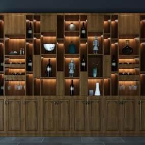 新中式酒柜3D模型【ID:634696242】