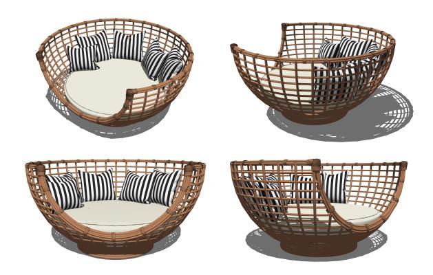 现代户外休闲沙发SU模型【ID:353363766】