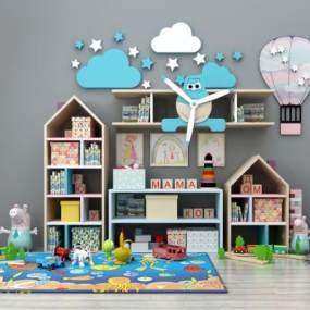 现代儿童书架儿童读物玩具组合3D模型【ID:330557439】