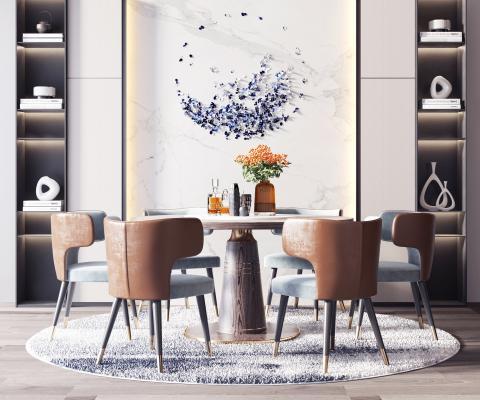 现代轻奢餐桌椅组合3D模型【ID:742275121】