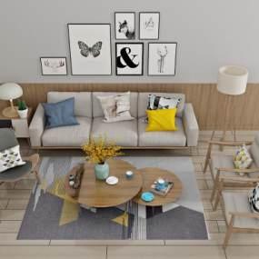 现代沙发茶几3D模型【ID:645890724】