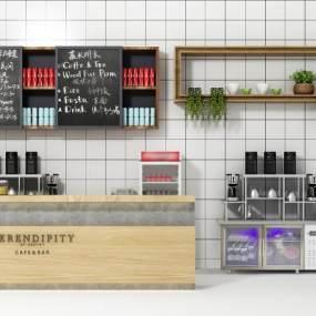 现代咖啡吧水吧台3D模型【ID:632186490】