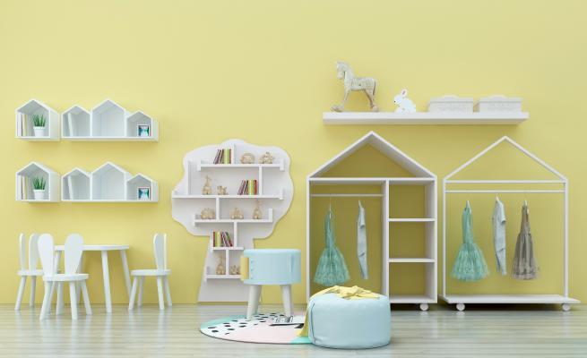 现代儿童桌椅3D模型【ID:937134347】