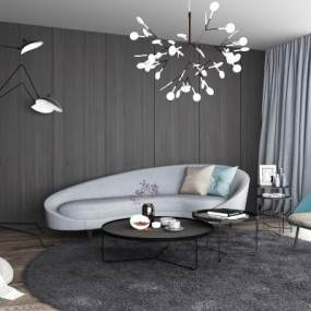 现代弧形沙发茶几组合3D模型【ID:635780709】