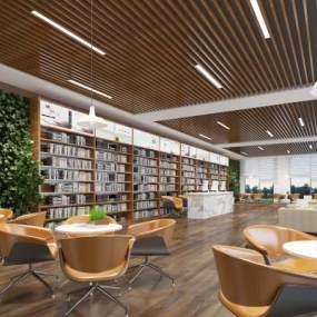 现代图书馆书吧休闲区3D模型【ID:935928865】
