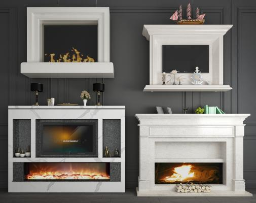 歐式大理石裝飾柜壁爐電視壁爐組合3D模型【ID:341855632】