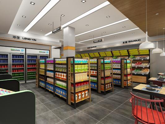 现代超市便利店3D模型【ID:131351195】