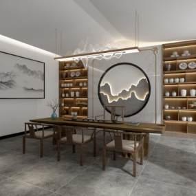 新中式风格茶室3D模型【ID:650171608】