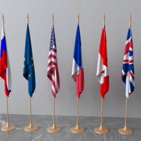 欧式简约国旗3D模型【ID:634718306】