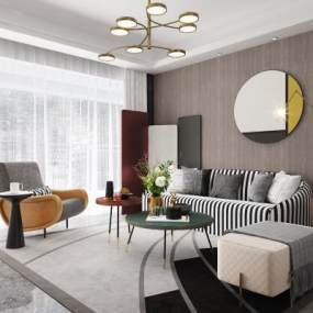 现代轻奢沙发茶几组合3D模型【ID:637373711】