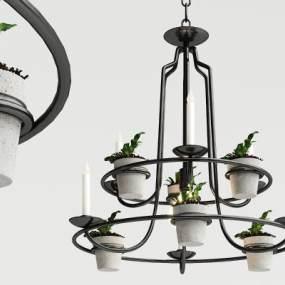 工业风盆栽吊灯3D模型【ID:733264824】