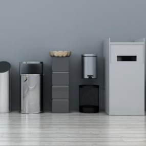 现代酒店垃圾桶金属垃圾桶3D模型【ID:430572516】