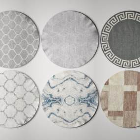 现代圆形地毯3D模型【ID:348346224】