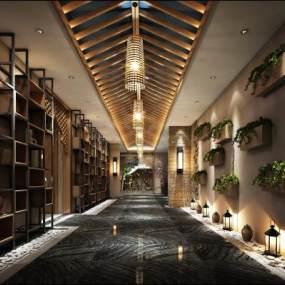 新中式酒店过道3D模型【ID:734542481】