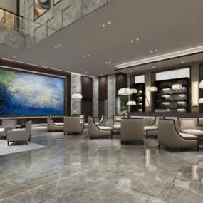 现代酒店会客厅3D模型【ID:732023587】