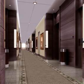 现代宾馆走廊3D模型【ID:743015446】