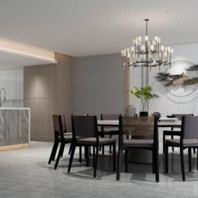 新中式餐厅3D模型【ID:547321156】