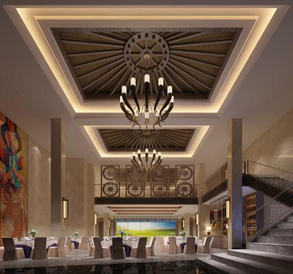 新中式大厅3D模型【ID:746774294】