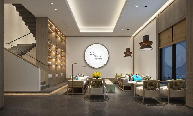 新中式茶室3D模型【ID:644347691】