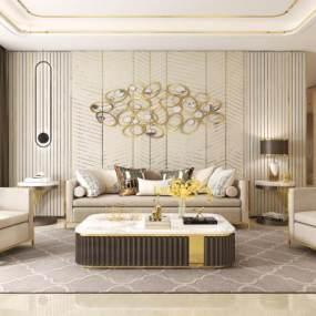 現代港式輕奢客廳沙發組合3D模型【ID:544168036】