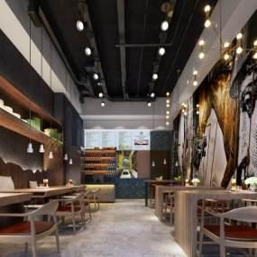 新中式咖啡厅3D模型【ID:631290347】