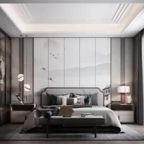 新中式臥室3D模型【ID:546535269】