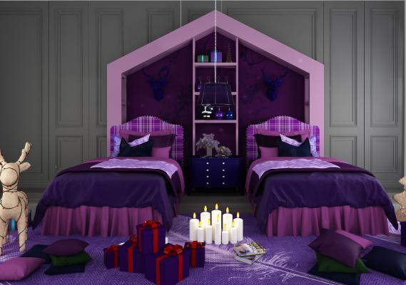 現代兒童床3D模型【ID:840784844】