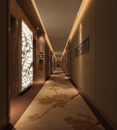 新中式酒店走道3D模型【ID:645940092】