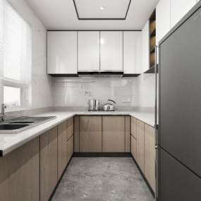 現代廚房3D模型【ID:548578345】