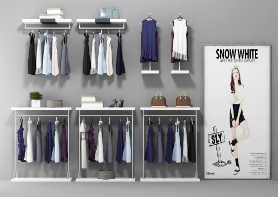 现代服装展架衣架组合3D模型【ID:231807532】