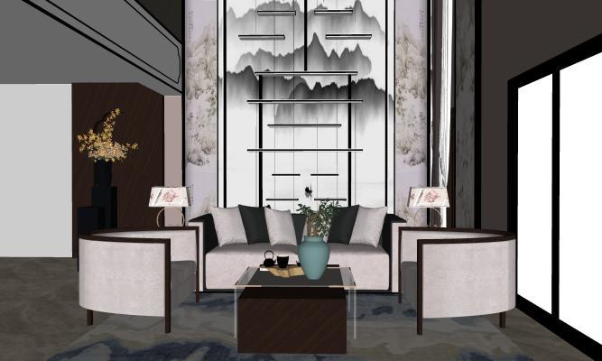 新中式客厅SU模型【ID:145721304】