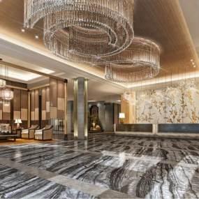 新中式酒店大堂3D模型【ID:743898019】