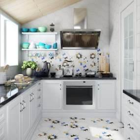 北欧风格厨房3D模型【ID:541464361】