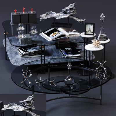 现代玻璃茶几3D模型【ID:643693840】