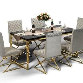 现代餐桌椅组合3D模型【ID:844450875】