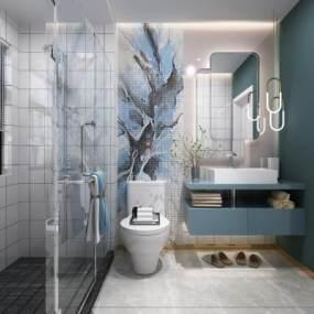 北欧卫生间浴室3D模型【ID:549229565】