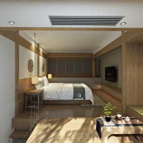 新中式loft客栈客房3D模型【ID:732860336】