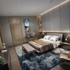 现代风格卧室3D模型【ID:543460223】