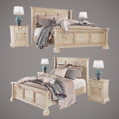 美式雙人床床頭櫃模型組合國外3D模型【ID:831665744】