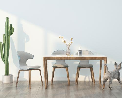 北欧餐桌椅3D模型【ID:734912113】