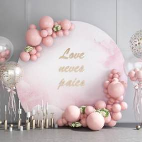 现代婚庆婚礼气球合影区烛台美陈3D模型【ID:233596566】