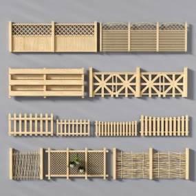 新中式田园木质围栏栏杆护栏3D模型【ID:330570744】