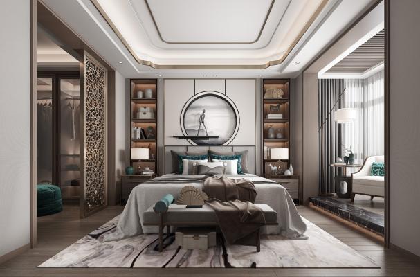新中式卧室3D模型【ID:552451016】