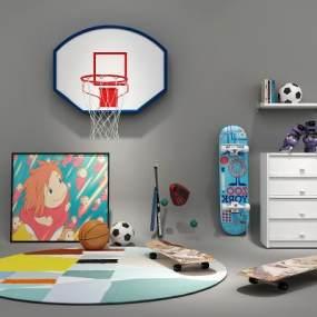 现代儿童滑板3D模型【ID:330748878】