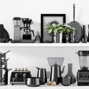 现代咖啡机厨房器具餐具组合3D模型【ID:233327841】