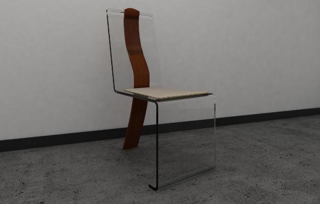 新中式鋼化玻璃椅子3D模型【ID:748539147】