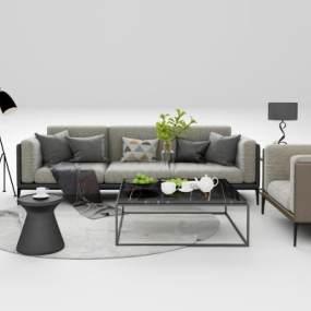 现代沙发茶几组合3D模型【ID:644511720】