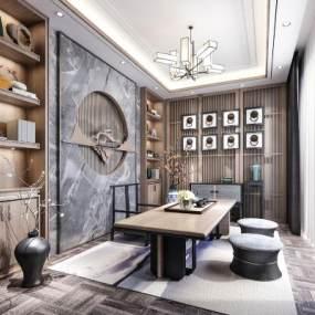 新中式茶室客厅3D模型【ID:648520140】